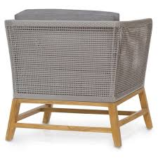 Modern Teak Outdoor Furniture by Serena Modern Grey Woven Teak Outdoor Lounge Chair Grey