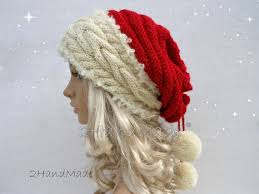 cable knit christmas santa hat unisex cable knit oversized beret baggy neck