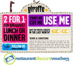 printable vouchers uk 2 for 1 at giraffe restaurants across the uk