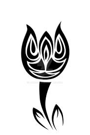 black tribal tulip flower tattoo stencil by melanie