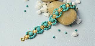 handmade flower bracelet images Turquoise jewelry how to make handmade turquoise bead flower jpg