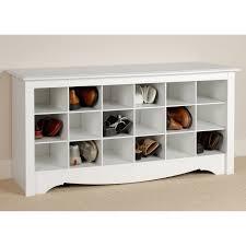prepac winslow white shoe storage cubbie bench hayneedle