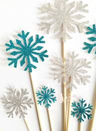 snowflake cake topper diy 10pcs white blue snowflakes cake toppers birthday wedding