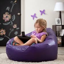 funiture glossy purple bean bag chairs over white hairy rug and