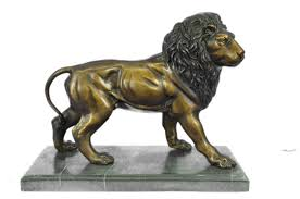 metal lion statue signed original bronze metal lion statue on marble base 11 x 14