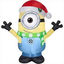 hat with fan built in christmas inflatable minion carl w santa hat scarf prop