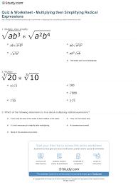 Multiplying And Dividing Negative Numbers Worksheet Quiz U0026 Worksheet Multiplying Then Simplifying Radical