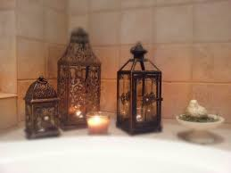 pier 1 imports lanterns give a relaxing feel in a bathroom home