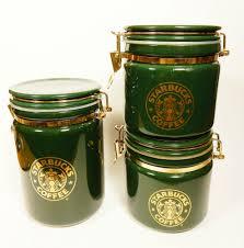 green canister sets kitchen starbucks canister set 3 pc green ceramic split tail mermaid