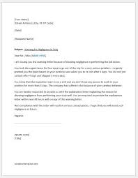 Explanation Letter Due To Negligence warning letter for negligence in duty word excel templates