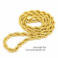 braided chain necklace images Hip hop iron rope chain gold silver color 6mm 30inch 1cm 30inch jpg