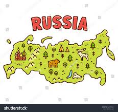 Geography Blog Russia Outline Maps by Cute Cartoon Map Russia Hand Drawn Stock Vector 684008851