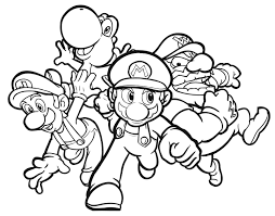 colouring pages of mario yoshi luigi and wario for kids coloring