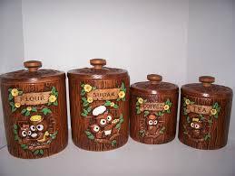 owl kitchen canisters vintage treasure craft owls canister set c1960s ceramic flour