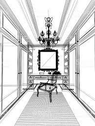 abstract sketch design of interior walkin closet stock photo