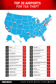 Las Vegas Crime Map By Zip Code by Top 20 Airports For Tsa Theft Crimewatchdaily Com