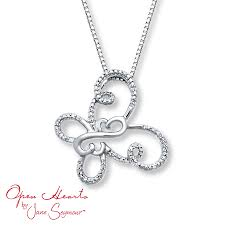 kay jewelers open heart kay open hearts butterfly necklace diamond accents sterling silver
