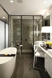 best 25 contemporary shower caddies ideas on pinterest modern complement your bathroom with a bathtub caddy contemporary bathroom with dark tile flooring plus glass shower wall and bathtub caddy also white vanity with