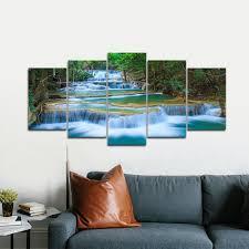 Livingroom Art Amazon Com Wieco Art Peaceful Waterfall Modern 5 Piece