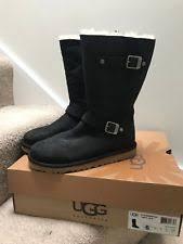 ugg s gershwin boots black ugg gershwin waterproof black leather sheepskin boots womens us 11