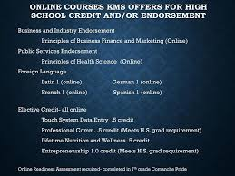 online health class for high school credit keller middle school 8th grade registration on slides ppt