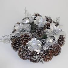 Decorating Pine Cones With Glitter Christmas Candle Ring Wreath Dining Table Decoration Red Bird