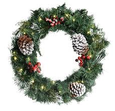 24 inch snow berry pre lit pine wreath with 25 led
