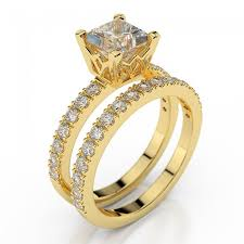 gold wedding rings diamond bridal set princess premier 1 carat 1 00ct