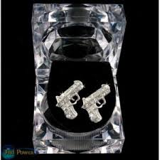 tupac earrings pistols iced out bling silver jewelry earrings new 2pac tupac