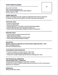 resume format information technology resume sle for fresh graduate information technology world of