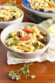 lemony greek pasta salad with zucchini fresh herbs oat u0026sesame