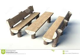 Wooden Bench And Table Wooden Bench And Table Made Of Tree Trunks Royalty Free Stock