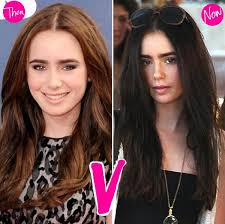from dark brown to light brown hair lily collins trades in her light brown hair for a much darker look