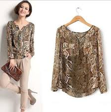 snake print blouse 2018 brand design blouse chiffon snake skin print