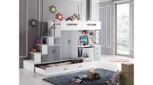 lit enfant mezzanine bureau lit mezzanine sacha pour les enfants coloris blanc et gris avec un