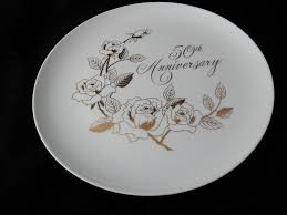 50th anniversary plate house of prill porcelain 50th anniversary plate white gold roses