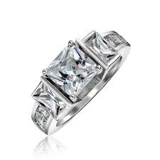 925 sterling silver engagement rings 925 sterling silver 3 princess cut cz engagement ring 2ct