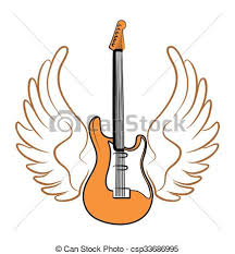 electric guitar with wings electric guitar drawing with eps