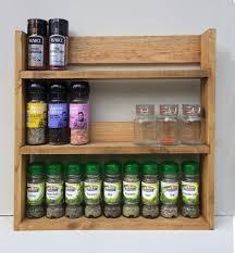 Herb Shelf Rustic Spice Rack Open Top Light Oak Finish 3 Shelves