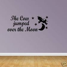 Nursery Rhyme Wall Decals Wall Decal Quote Cow Jumped Moon Nursery Decal Nursery Rhyme
