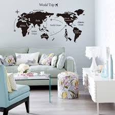 creative home decor world map atlas wall sticker black printed creative home decor world map atlas wall sticker black printed bedroom decorative removable adhesive vinyl poster for wall decal in wall stickers from home
