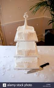 tiered wedding cakes a three tiered wedding cake on display at a wedding reception the