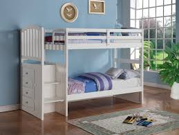 Stair Bunk Beds Solid Wood White Staircase Bunk Bed Reversible Rooms