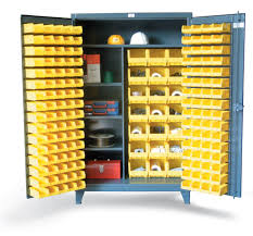 Storage Bins For Shelves by Strong Hold Products Bin Storage Cabinet With Half Width Shelves