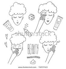 design applying the elements face girl removing makeup applying cream stock vector 718727413