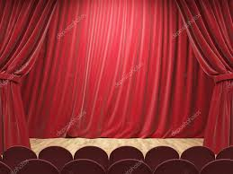 Stage With Curtains Theater Stage With Drawn Red Curtains Mock Up 3d Rendering
