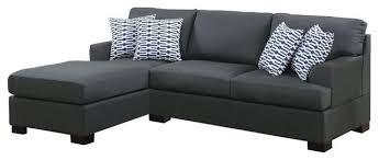 Reversible Sectional Sofas by Poundex Bobkona Roman Reversible Sectional Sofa Slate Black