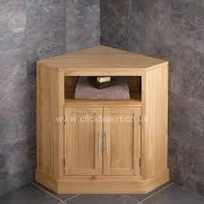 solid oak corner bathroom cabinet in the cube range