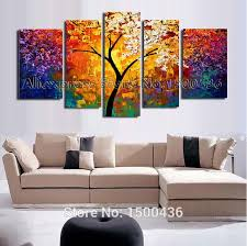 5 piece canvas wall art hand painted palette knife oil hand painted abstract tree oil painting on canvas modern texture