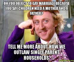 Single Parent Meme - gay marriage meme electoralcollage